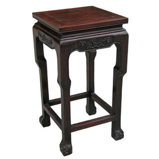 EXP Brown Antique Style Accent Table with Hand-carved Trim