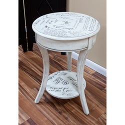 French Script Vintage Cream Side Table
