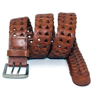 Toneka Embossed Men's Brown Faux-Leather and Silvertone Belt