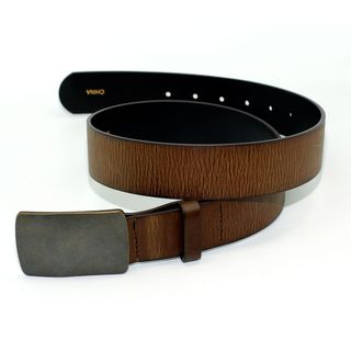 Toneka Embossed Men's Brown Faux-leather Belt