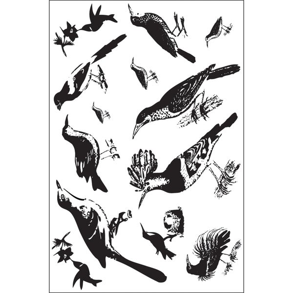 """Clear Photopolymer Stamps 4""""X6""""-Ornate Feathered Friends 13 Images"""
