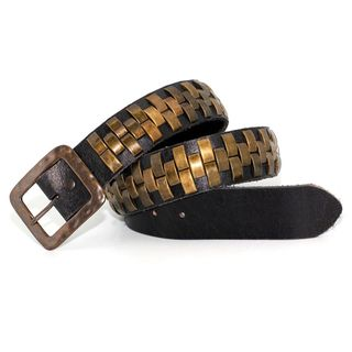 Toneka Golden Copper Men's Faux-leather Belt