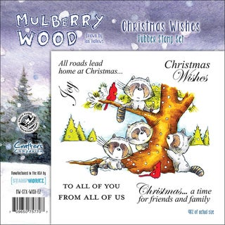 """Mullberry Wood EZMount Cling Stamp Set 4-3/4""""X4-3/4""""-Christmas Wishes"""