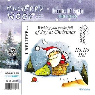 "Mullberry Wood EZMount Cling Stamp Set 4-3/4""X4-3/4""-Dreams Of Santa"