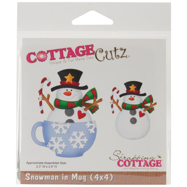 "CottageCutz Die 4""X4""-Snowman In A Mug"