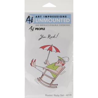 Art Impressions People Cling Rubber Stamp-Rockin' Ruby Set
