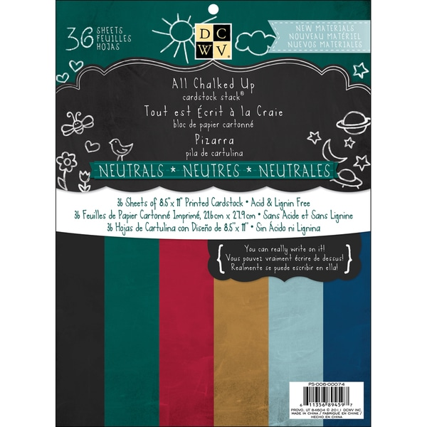 """All Chalked Up Solid Cardstock Stack 8.5""""X11""""-Neutrals 36 Sheets"""