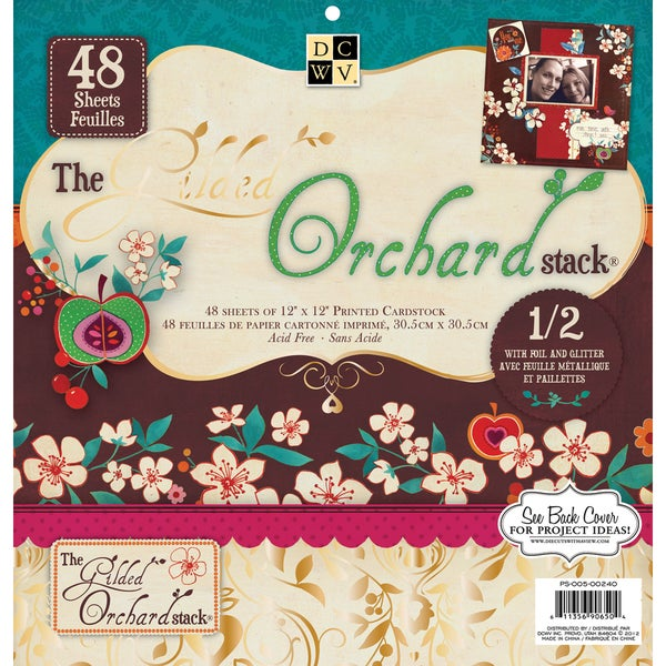 """Gilded Orchard Paper Stack 12""""X12"""" 48/Sheets-24 Designs/2ea, 12 W/Glitter Or Foil"""