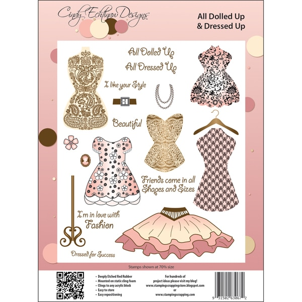 Cindy Echtinaw Designs Spellbinders Matching Rubber Stamps-All Dolled Up & Dressed Up