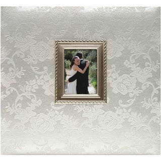 """Floral Fabric With Metal Frame Postbound Album 12""""X12""""-Wedding"""