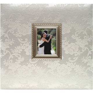 "Floral Fabric With Metal Frame Postbound Album 12""X12""-Wedding"
