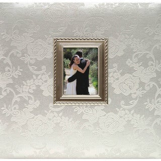 12-inch Postbound Wedding Album with Floral Fabric and Metal Frame