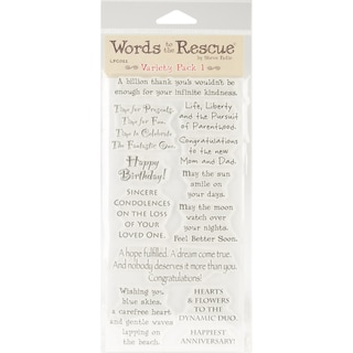 Words To The Rescue Clear Stamp Set-Variety Pack 1