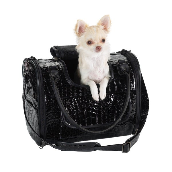 Zack & Zoey Black Croco Pet Carrier