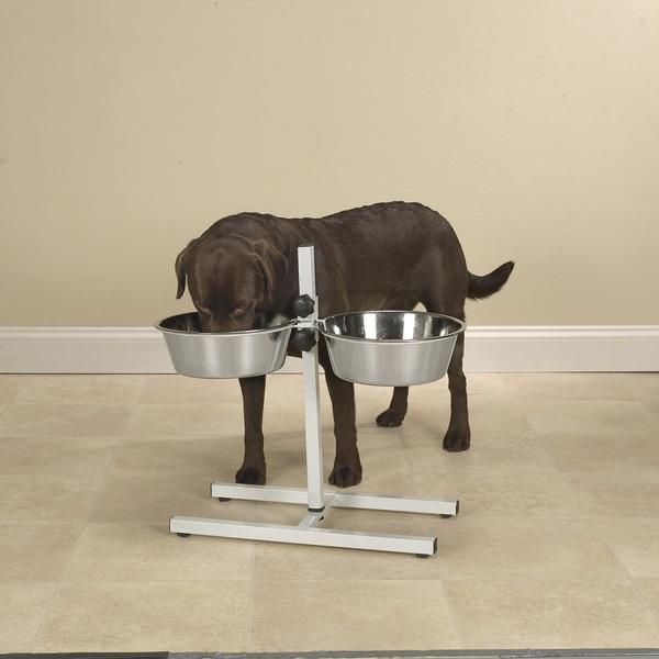 ProSelect White Adjustable Dog Diner with Bowls