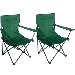 Green Deluxe Folding Armchairs (Pack of 2)