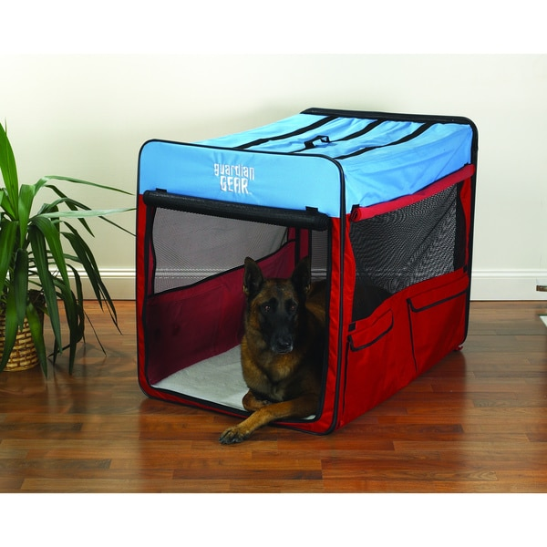 Guardian Gear Red/ Blue Extra-large Collapsible Dog Crate