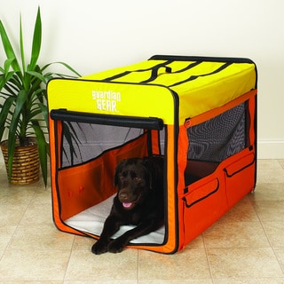 Guardian Gear Orange/ Yellow Large Collapsible Dog Crate