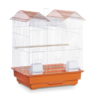 Prevue Pet Products Triple Roof Orange and White Bird Cage