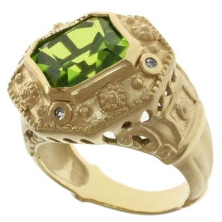 Michael Valitutti Peridot Quartz and White Sapphire Ring