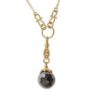 Michael Valitutti Hematite and White Sapphire Necklace
