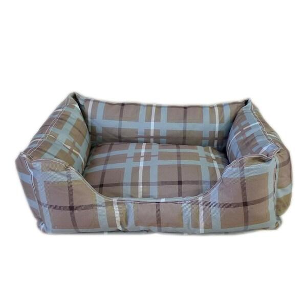 Carolina 'Brutus Tuff Kuddle' Brown/ Blue Plaid Pet Bed Lounger