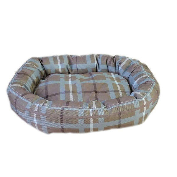 Carolina Pet Brutus Comfy Cup Brown/ Blue Plaid Pet Bed