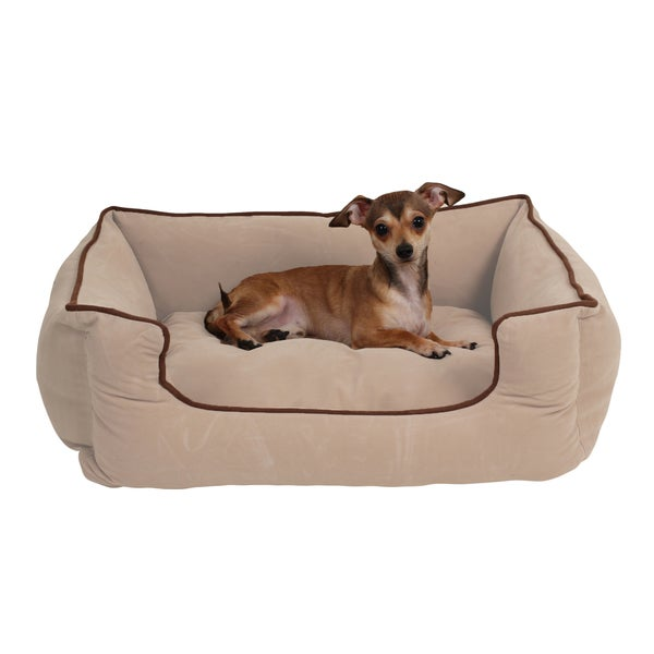 Carolina Pet Tan Microfiber Low Profile Kuddle Pet Bed Lounger