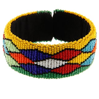 Mosaic Multi-colored Beaded Bangle Bracelet (South Africa)