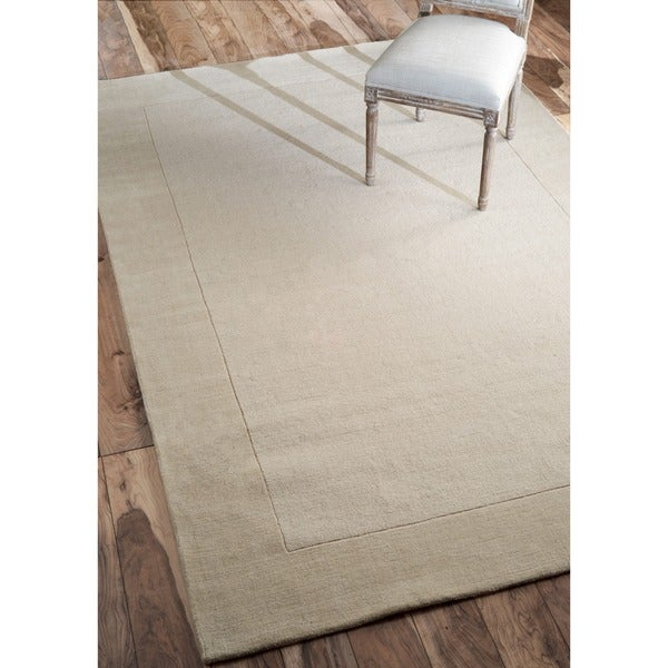 nuLOOM Handmade Marrakesh Border Cream/ Tan Wool Rug