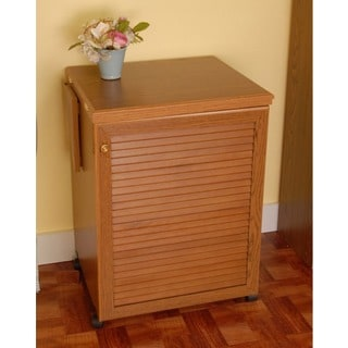 Arrow 'Sewnatra' Oak Finish Airlift Crafts & Sewing Machine Table with Storage and Organization Cabinet