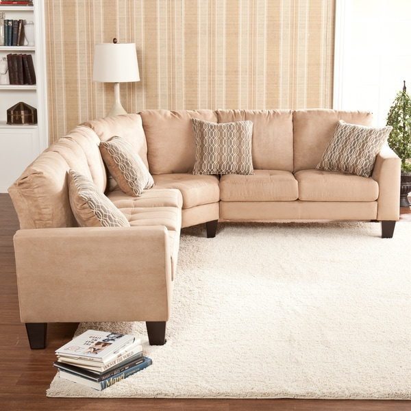 Ascot Three Piece Mocha Sectional Sofa/ Loveseat/ Wedge