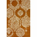 nuLOOM Handmade Damask Rust Wool Rug