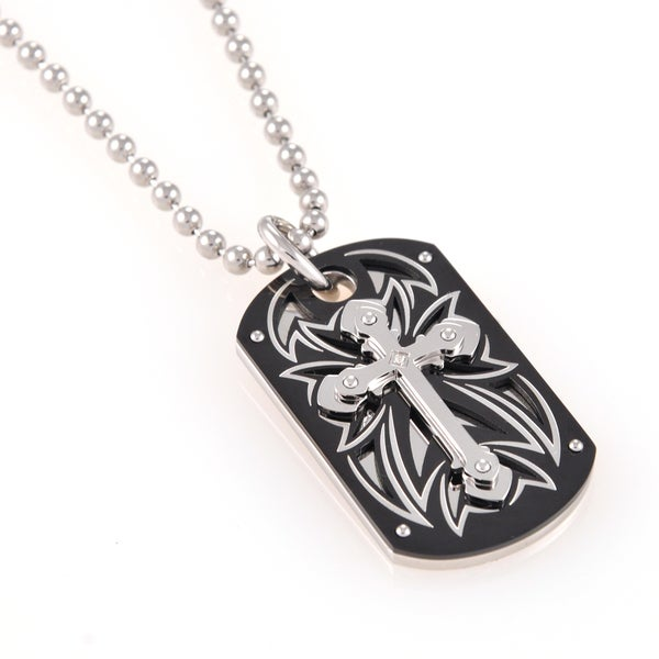 Stainless Steel Diamond Accent Tribal Cross Dog Tag 30-inch Necklace