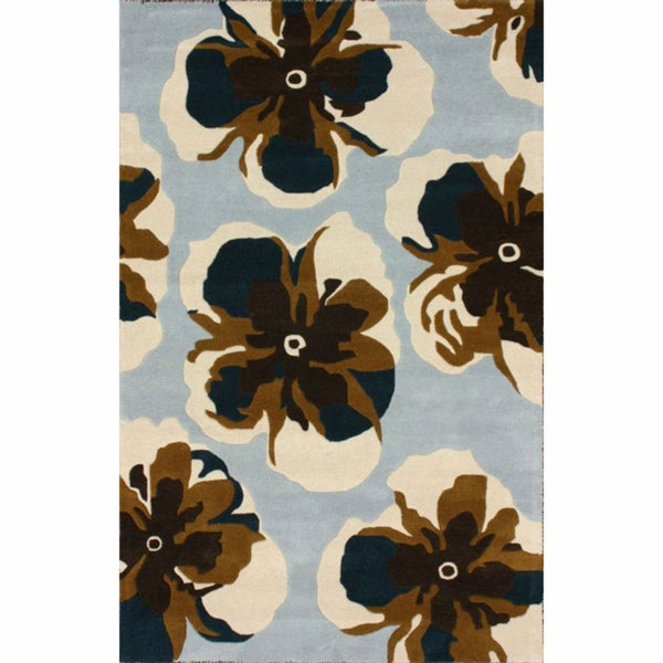 nuLOOM Handmade Floral Light Blue Wool Rug