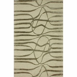 nuLOOM Handmade Curves Natural Wool/ Faux Silk Rug (5' x 8')