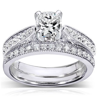 Annello  14k White Gold 1 1/3ct TDW Certified Diamond Bridal Rings Set (G, VS2)