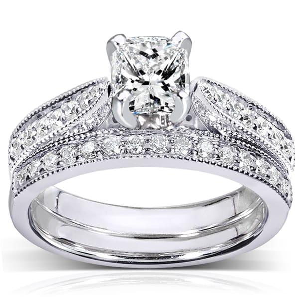 Annello 14k White Gold 1 1/3ct TDW Certified Diamond Bridal Rings Set (G, VS2)