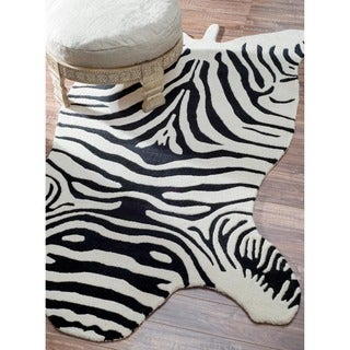 Hand-tufted Alexa Animal Shape Zebra Black Wool Rug (6' x 9')