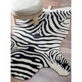 nuLOOM Hand-tufted Animal Shape Zebra Black Wool Rug (6' x 9')