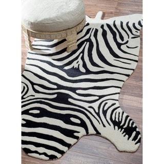 nuLOOM Hand-tufted Animal Shape Zebra Black Wool Rug (6' x 9')
