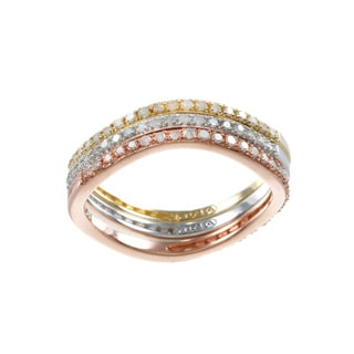 Beverly Hills Charm Tri-color 1/2ct TDW Stackable Diamond 3-Piece Ring Set