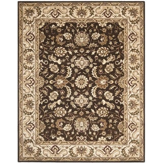 Handmade Royalty Chocolate Brown/ Beige Wool Rug
