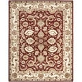 Handmade Royalty Red/ Ivory Wool Rug
