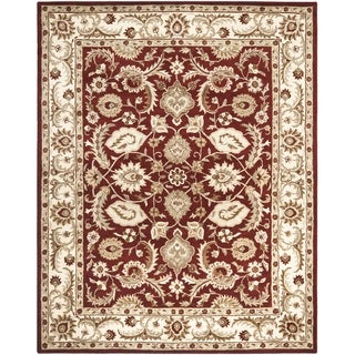Handmade Royalty Red/ Ivory Wool Rug