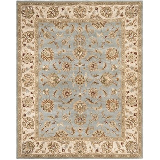 Handmade Royalty Grey/ Beige Wool Rug
