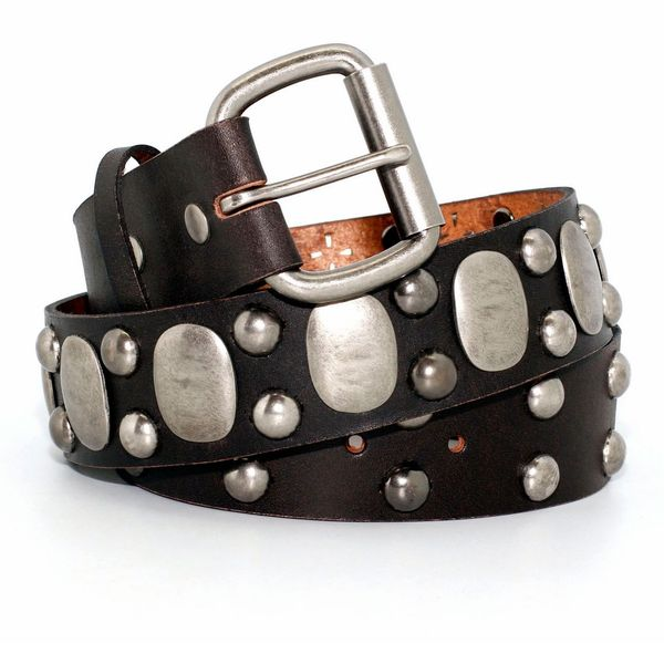 Toneka Embossed Silver Pieces Men's Belt