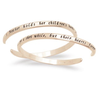14k Gold over Silver 'A Mother Holds Her Children's Hands' Sentiment Bracelet