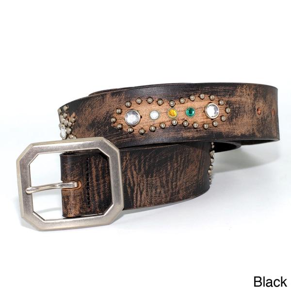 Toneka Ancient Jewel Style Men's Faux-leather Belt