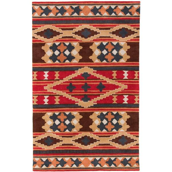 Dick Idol Hand-tufted Red/Brown Southwestern Aztec Summit Wool Rug (3'3 x 5'3)